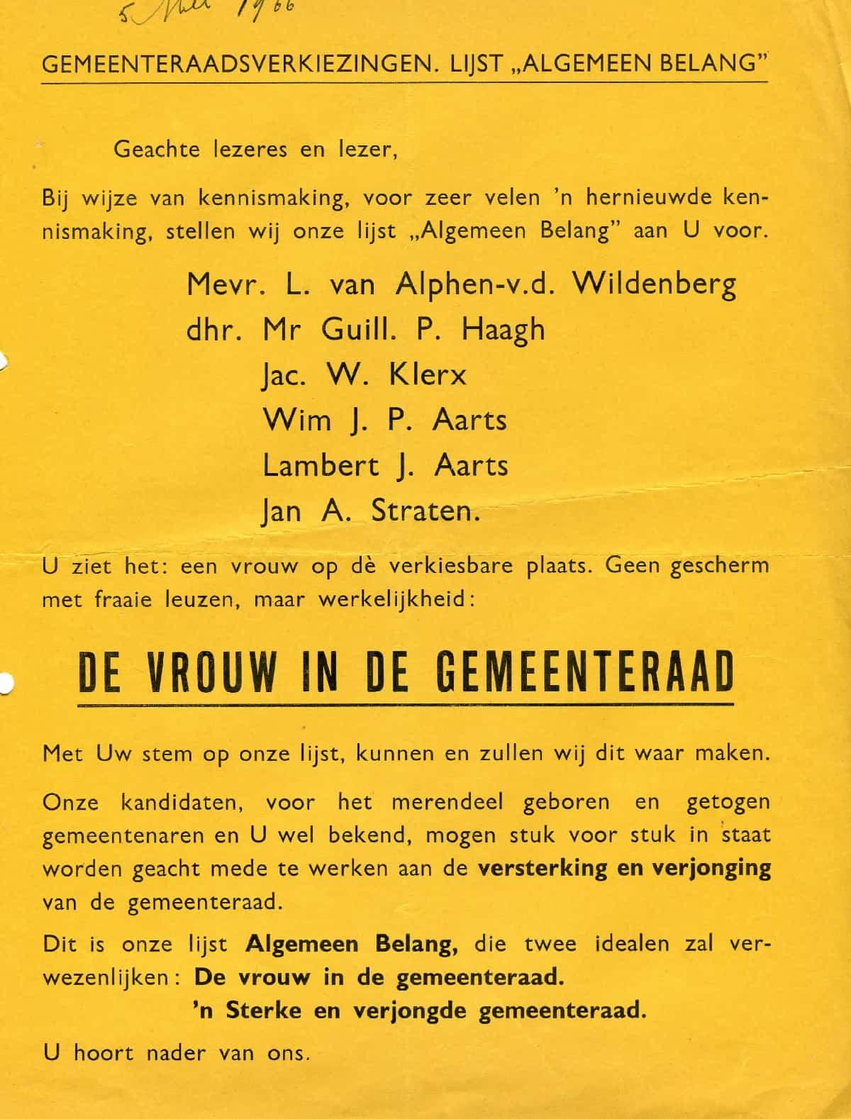 Uitzonderlijk Vrouw 1966-Lijst Algemeen Belang-lijst 8-de vrouw in de #TB96